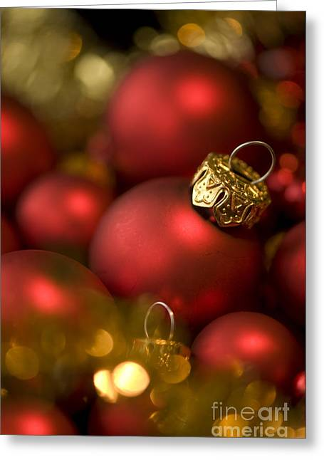 Trimmings Greeting Cards - Baubles Greeting Card by Anne Gilbert