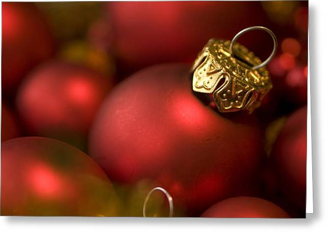 Baubles Greeting Card by Anne Gilbert