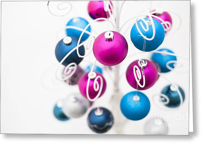 Coloured Greeting Cards - Baubles From Above Greeting Card by Anne Gilbert