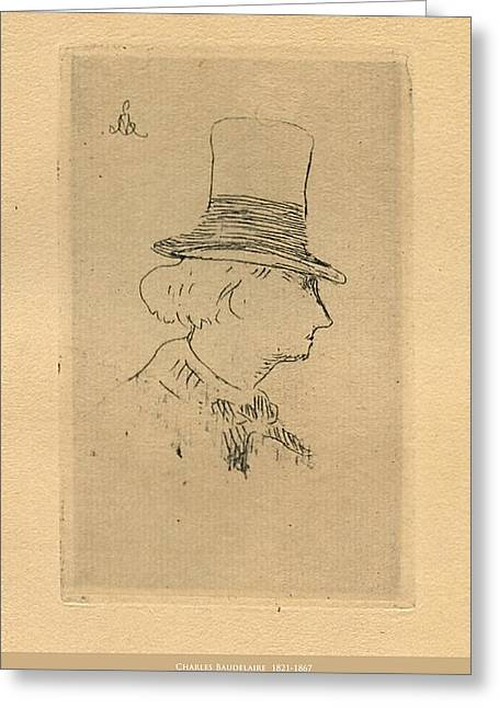 Charles Baudelaire Greeting Cards - Baudelaire in Top Hat Greeting Card by Asok Mukhopadhyay