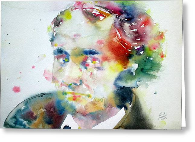 Charles Baudelaire Greeting Cards - BAUDELAIRE - watercolor portrait Greeting Card by Fabrizio Cassetta