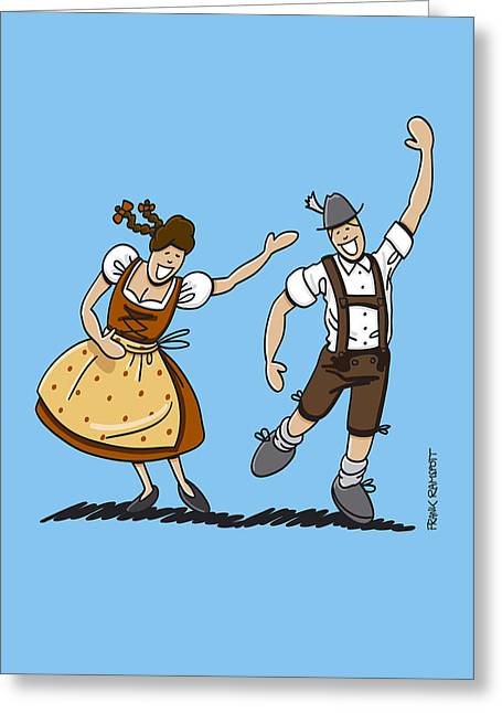 Germany Greeting Cards - Bavarian Couple Celebrating The Oktoberfest Greeting Card by Frank Ramspott