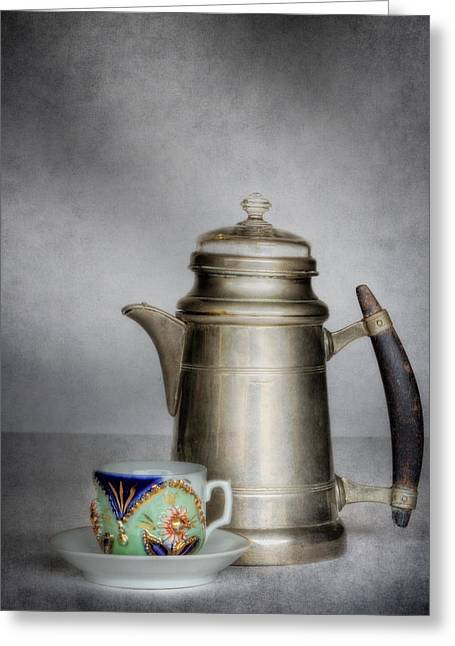 Cup And Saucer Greeting Cards - Bavarian Pewter and German Porcelain Greeting Card by David and Carol Kelly