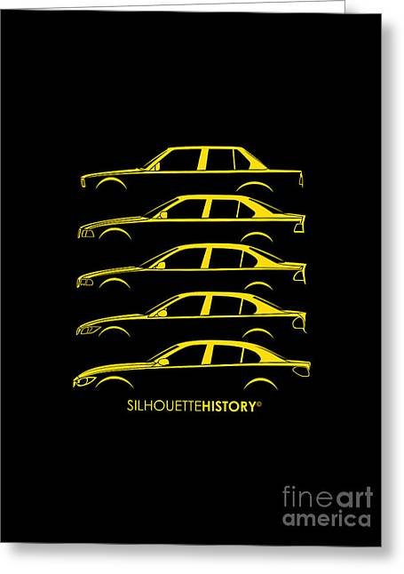 Family Car Greeting Cards - Bavarian Three Sedan SilhouetteHistory Greeting Card by Balazs Iker