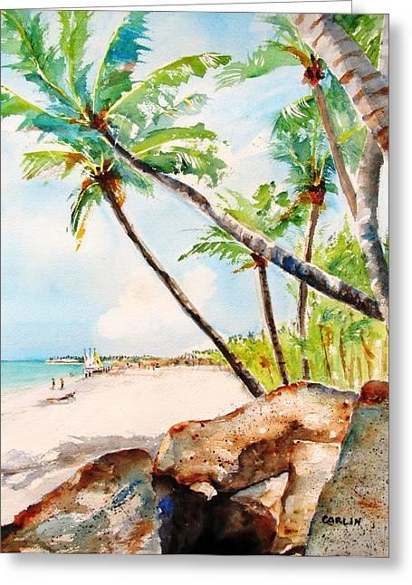 Carlin Greeting Cards - Bavaro Tropical Sandy Beach Greeting Card by Carlin Blahnik