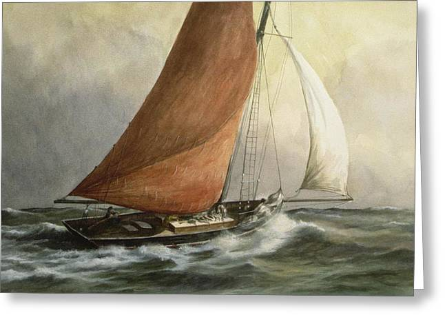 Sailing Yacht Greeting Cards - Bawley in the Estuary Greeting Card by Vic Trevett