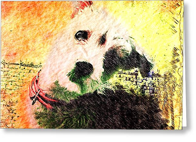Puppies Mixed Media Greeting Cards - Baxter Greeting Card by Kevyn Bashore
