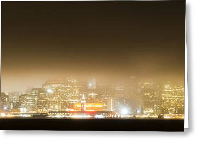 York Beach Greeting Cards - Bay Area Nighttime Fog Greeting Card by Bryant Coffey