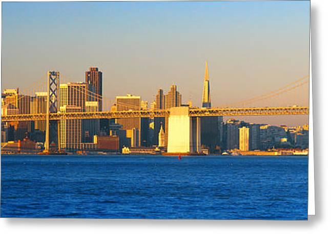 Bay Bridge Greeting Cards - Bay Bridge & San Francisco From Port Greeting Card by Panoramic Images