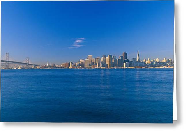 Bay Bridge Greeting Cards - Bay Bridge & San Francisco Greeting Card by Panoramic Images
