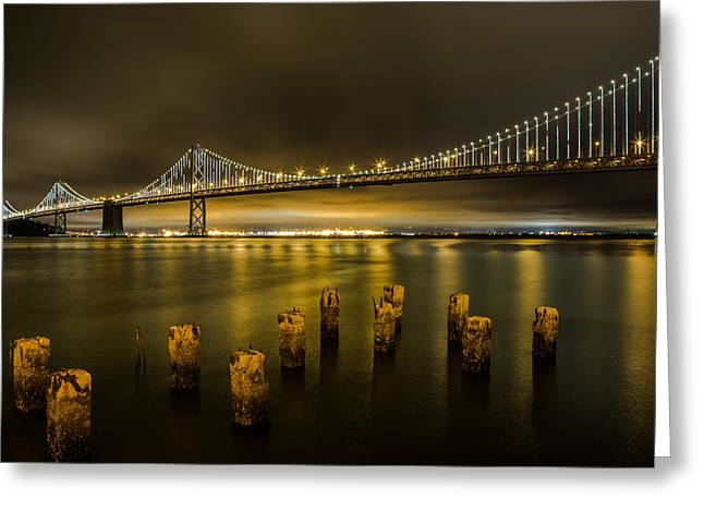 John Daly Greeting Cards - Bay Bridge and Clouds at Night Greeting Card by John Daly