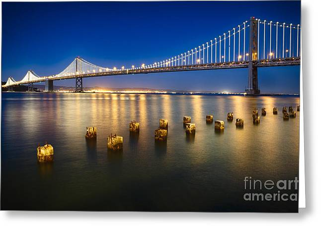 San Fransico Greeting Cards - Bay Bridge at Night Greeting Card by George Oze