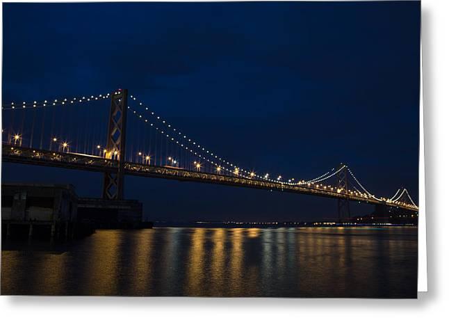 Bay Bridge Greeting Cards - Bay Bridge at Night Greeting Card by John Daly