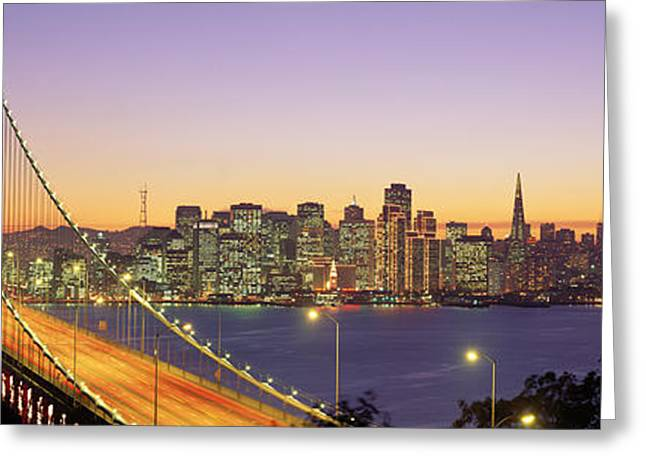 San Francisco Images Greeting Cards - Bay Bridge At Night, San Francisco Greeting Card by Panoramic Images