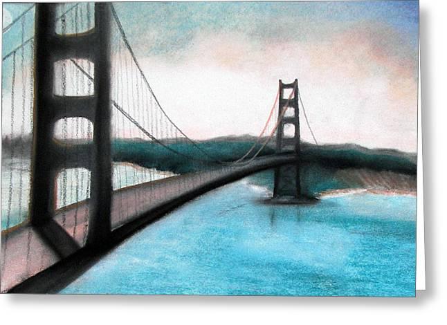 San Francisco Bay Mixed Media Greeting Cards - Bay Bridge Greeting Card by Christine Maeda