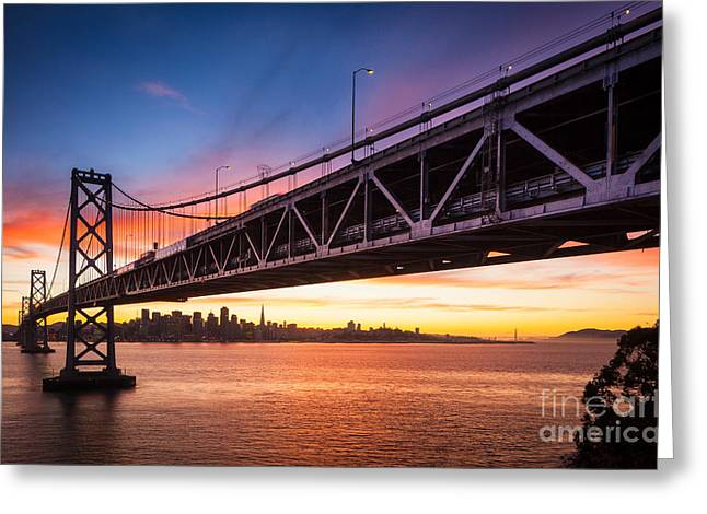 Treasure Island Greeting Cards - Bay Bridge Expanse Greeting Card by Inge Johnsson