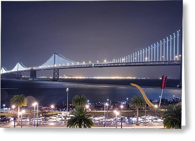 Bay Bridge Greeting Cards - Bay Bridge Grand Lighting Ceremony Greeting Card by David Yu