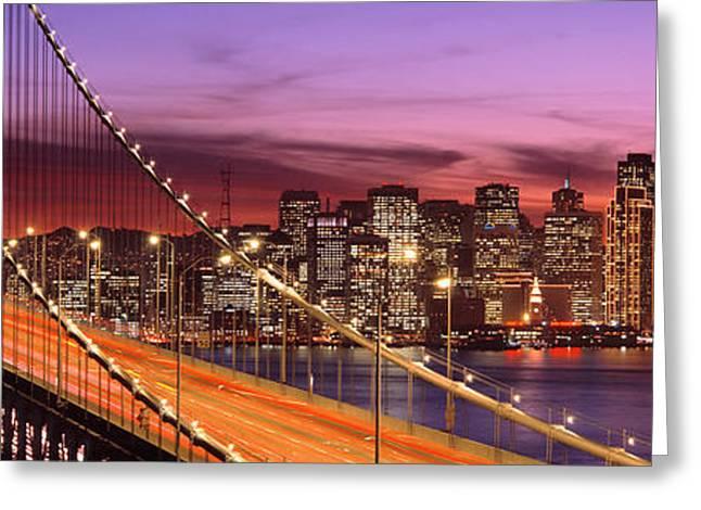 Bay Bridge Greeting Cards - Bay Bridge Illuminated At Night, San Greeting Card by Panoramic Images