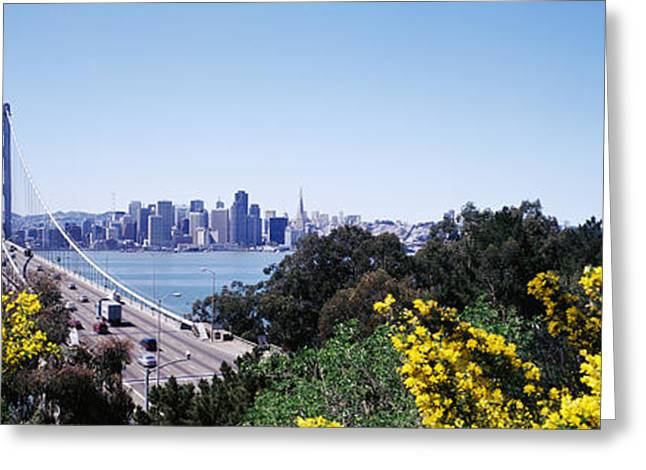 Bridge Of Flowers Greeting Cards - Bay Bridge In San Francisco, San Greeting Card by Panoramic Images