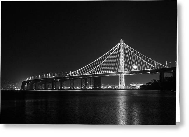 Yang Greeting Cards - Bay Bridge Moon Greeting Card by Bryant Coffey