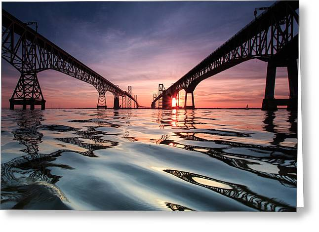 Chesapeake Bay Bridge Greeting Cards - Bay Bridge Reflections Greeting Card by Jennifer Casey