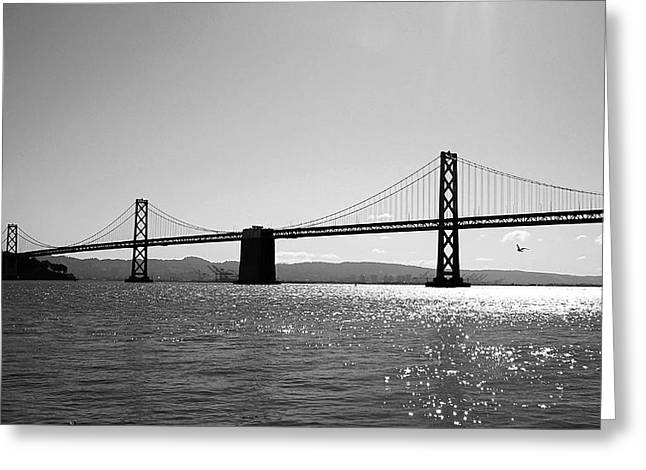 San Francisco Bay Bridge Greeting Cards - Bay Bridge Greeting Card by Rona Black