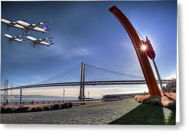 Sean Greeting Cards - Bay Bridge Salute Greeting Card by Sean Foster