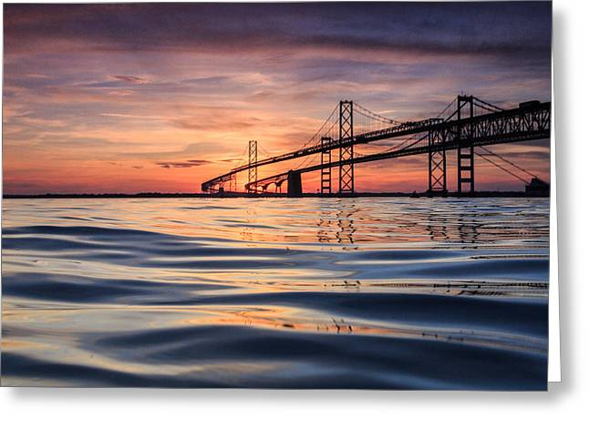 Chesapeake Bay Bridge Greeting Cards - Bay Bridge Silk Greeting Card by Jennifer Casey
