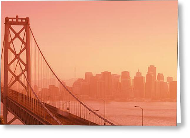 Bay Bridge Greeting Cards - Bay Bridge, Skyline, City, San Greeting Card by Panoramic Images