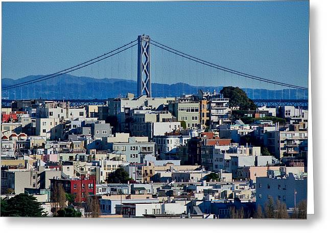 Downtown Area Pictures Greeting Cards - Bay Bridge Skyline Greeting Card by See My  Photos