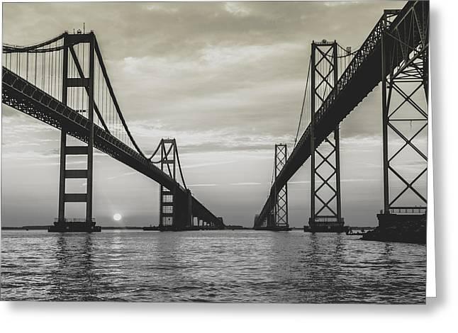 Chesapeake Bay Bridge Greeting Cards - Bay Bridge Strong Greeting Card by Jennifer Casey