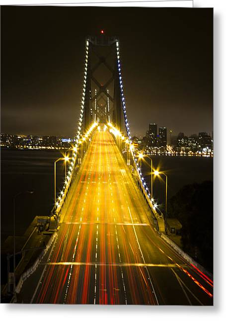 Cut-outs Greeting Cards - Bay Bridge Traffic Greeting Card by Bryant Coffey