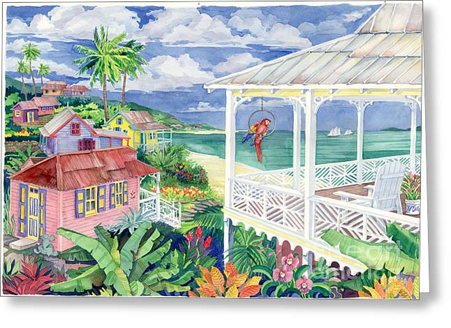 Tropical Island Greeting Cards - Bay Caribe Greeting Card by Paul Brent