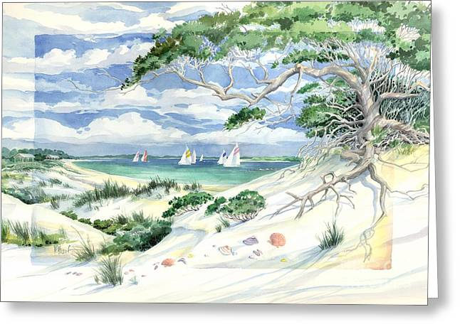 Blue Sailboat Greeting Cards - Bay Dunes Greeting Card by Paul Brent