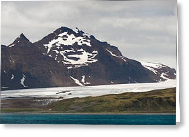 Mountain Greeting Cards - Bay In Front Of Snow Covered Mountains Greeting Card by Panoramic Images