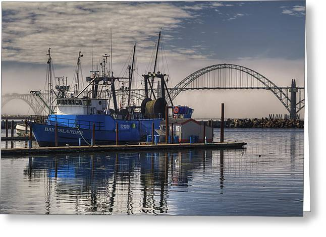 Fishing Boat Reflection Greeting Cards - Bay Island docked - Newport Oregon Greeting Card by Mark Kiver