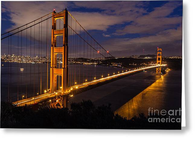 Bay Bridge Greeting Cards - Bay Lights Greeting Card by Charles Garcia