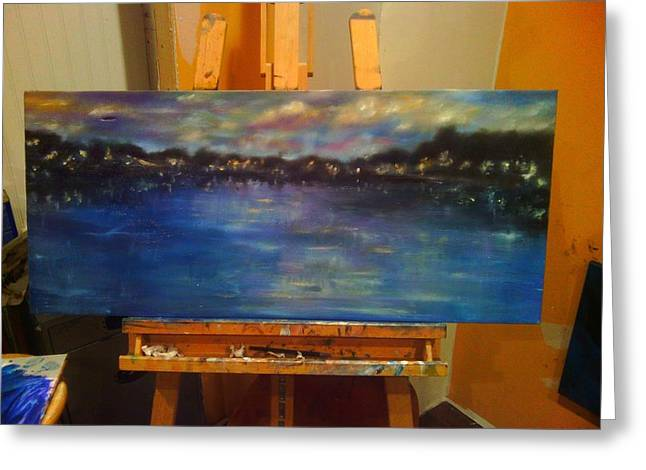 Indiana Rivers Paintings Greeting Cards - Bay lights Greeting Card by Erin Langham