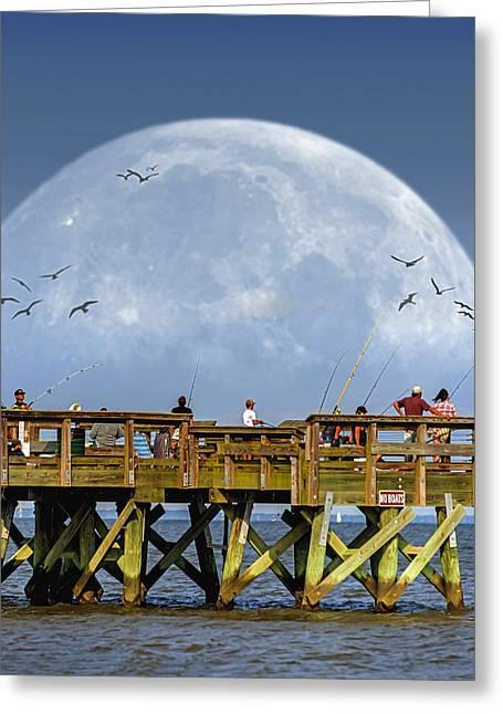 Fishing Creek Greeting Cards - Bay Moon Greeting Card by Brian Wallace