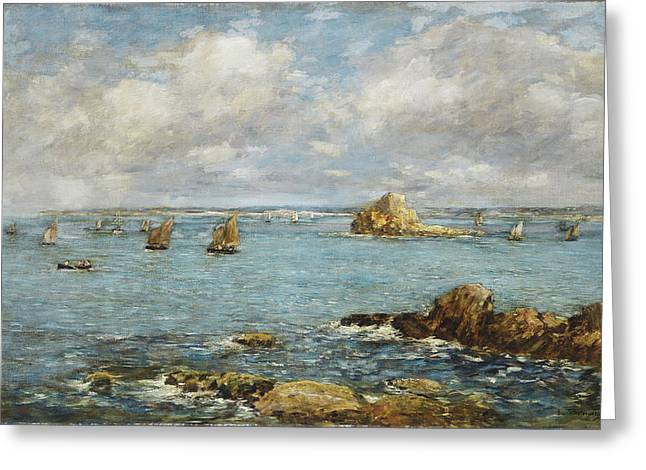 Water Vessels Greeting Cards - Bay of Douarnenez Greeting Card by Eugene Louis Boudin