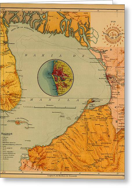 Manila Greeting Cards - Map of Bay of Manila 1899 Greeting Card by Andrew Fare