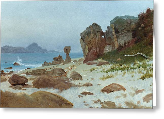 On The Beach Greeting Cards - Bay of Monterey Greeting Card by Albert Bierstadt