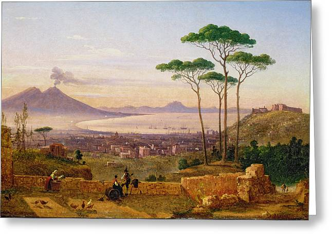 Volcano Greeting Cards - Bay Of Naples Greeting Card by Andrea da Crescio