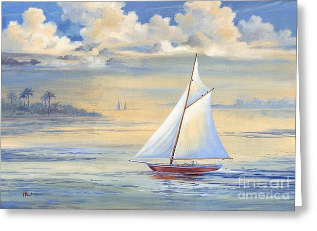 Blue Sailboat Greeting Cards - Bay of Palms Greeting Card by Paul Brent