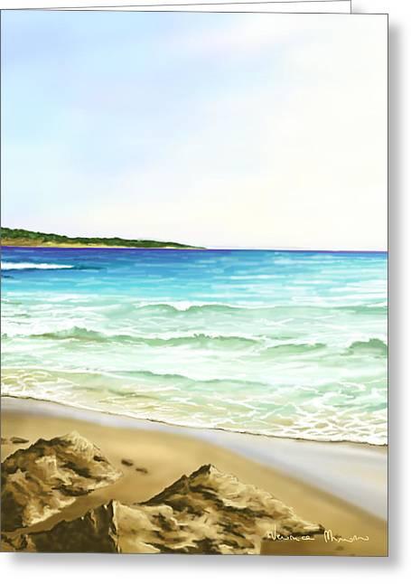 Cyclades Greeting Cards - Bay of Santa Maria Greeting Card by Veronica Minozzi