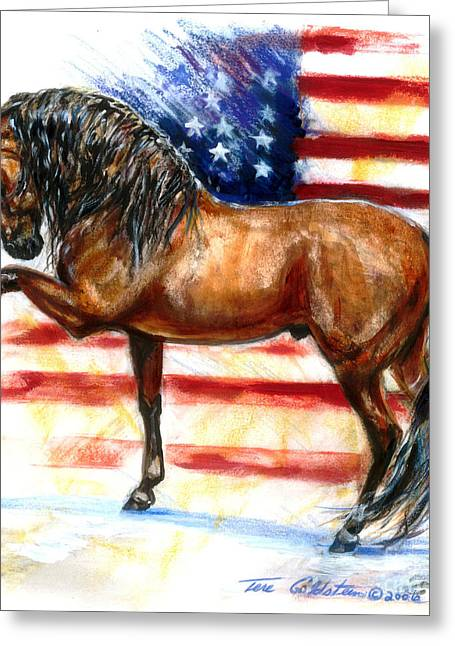 4th July Paintings Greeting Cards - Bay Patriot Greeting Card by Tere Goldstein
