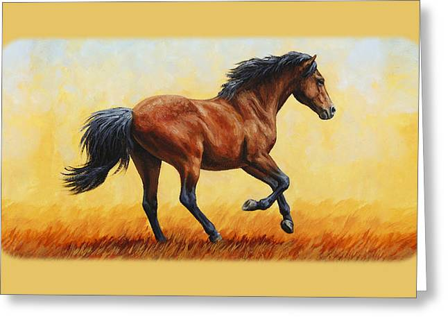 Horses Running Greeting Cards - Bay Running Horse Phone Case Greeting Card by Crista Forest