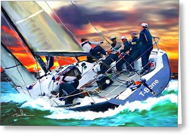 Recently Sold -  - Ocean Sailing Greeting Cards - Bay Sail by Tom Sachse Greeting Card by Tom Sachse