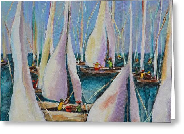 Ocean Sailing Greeting Cards - Bay Sails 1 Greeting Card by Lynn Rattray