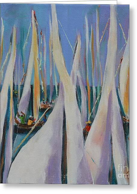 Ocean Sailing Greeting Cards - Bay Sails 2 Greeting Card by Lynn Rattray